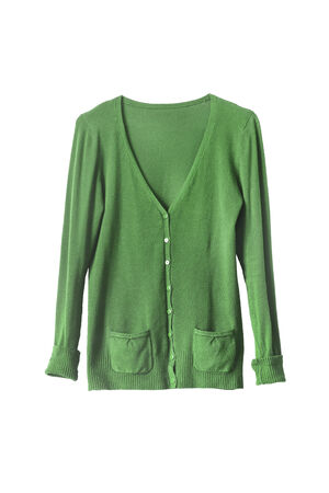 Green knitwear cardigan isolated over white Banque d'images
