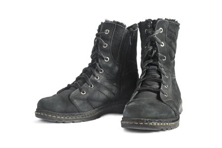 nu: Pair of black nu buck leather hiking boots on white  Stock Photo