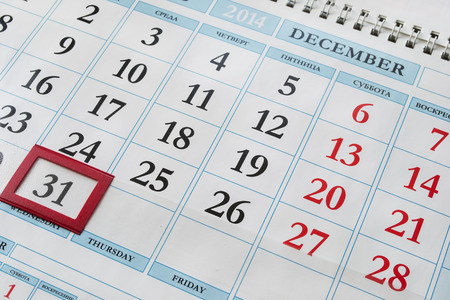 31 december on calendar as a background photo