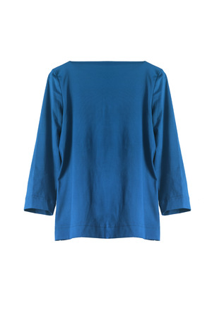 tunic: Blue silky tunic isolated over white