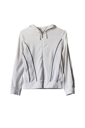 zipped: White sports zipped jacket isolated over white Stock Photo