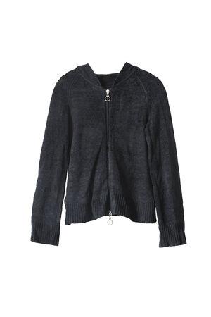 tejidos de punto: G�neros de punto negro de la chaqueta con cremallera aislado m�s de blanco Foto de archivo