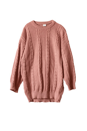 Pink knitted wide sweater isolated over white Banque d'images