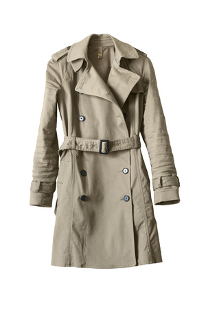 Elegant beige buttoned trenchcoat isolated over white