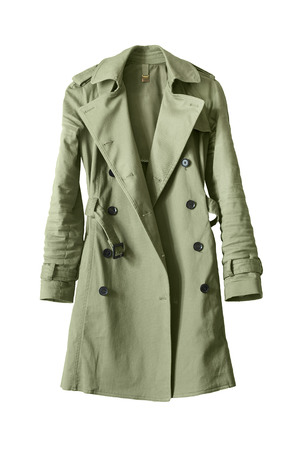 Classic khaki trench coat isolated over white