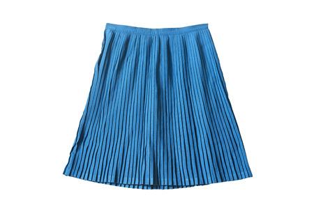 ブルー コットン プリーツ白分離校制服スカート