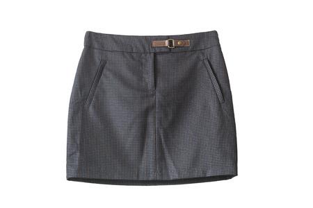 mini skirt: Mini-jupe serr�e gris fonc� isol� sur blanc