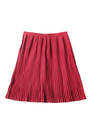skirt suit: Pink pleated knee length skirt isolated over white Stock Photo