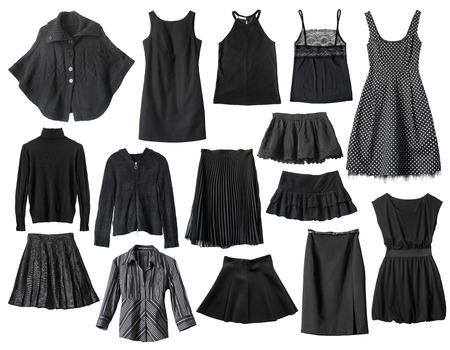白で分離された黒の女性服のセット