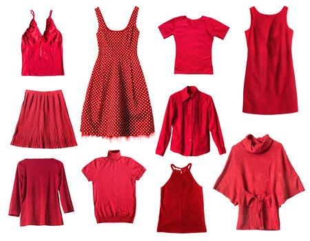 白い背景の赤い女性の服をセットします。 写真素材