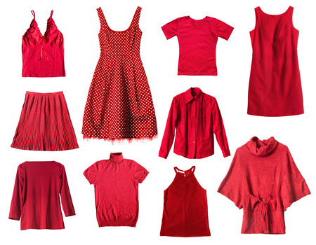 Set of red female clothes on white background Stok Fotoğraf