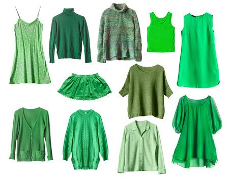 白で分離された緑の女性服のセット 写真素材