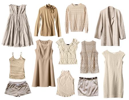 白で分離されたベージュの女性服のセット 写真素材