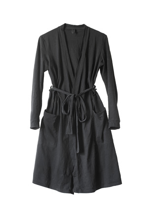 Black bathrobe with a belt and pockets on white background