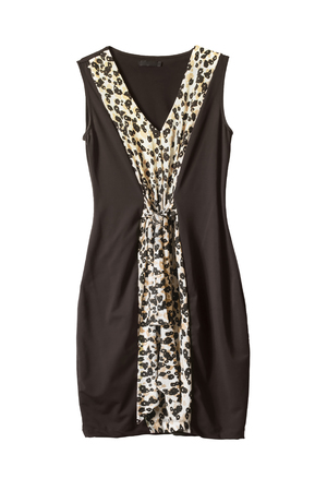 formal dressing: Brown sleeveless dress decorated with leopard print isolated over white Stock Photo