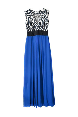 maxi: Maxi dress with blue ciffone skirt isolated over white