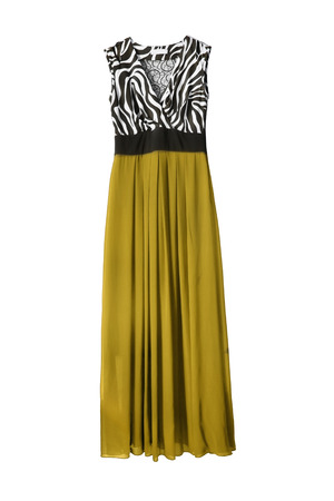 maxi dress: Beautiful silk maxi dress with yellow skirt on white background