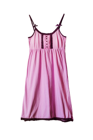 shoulder buttons: Pink cotton nightgown on white background