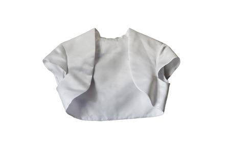白で分離された白いシルク ボレロ ジャケット 写真素材