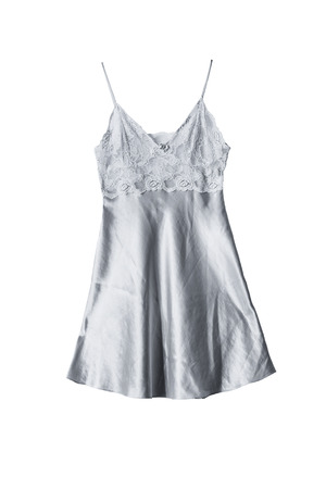nightdress: Silk lacy silver nightdress isolated over white