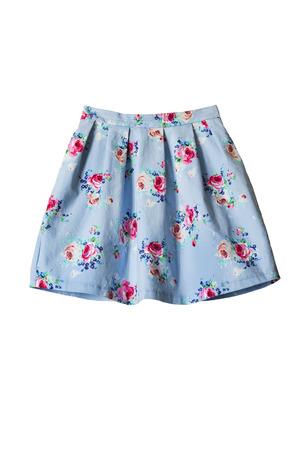 白で分離されたピンクのバラとブルーの美しいスカート 写真素材
