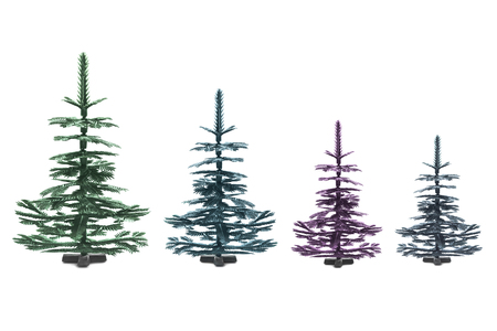 Group of four synthetic christmas trees on white background photo