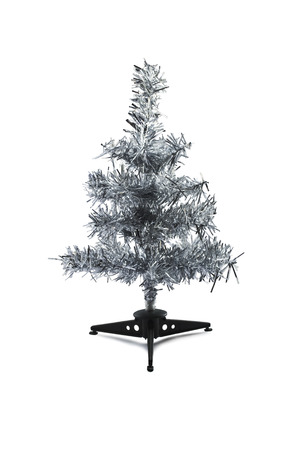 silver tinsel christmas tree isolated over white stock photo 32270122 - Silver Tinsel Christmas Tree