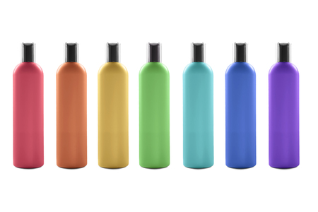 top seven: Group of seven multicolor cosmetic blank bottles on white background Stock Photo