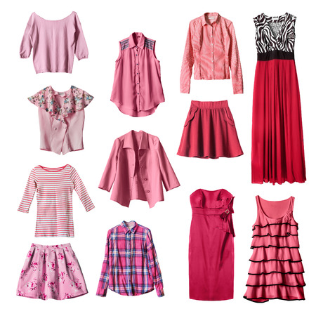 suit skirt: Set of pink and red female clothes on white background Stock Photo