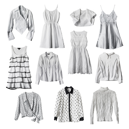 formal dressing: Set of white female clothes isolated over white