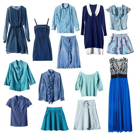 Set of blue female clothes on white background