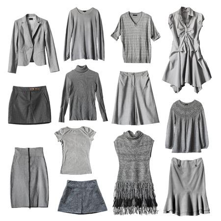 白の背景に灰色の女性の服をセットします。 写真素材