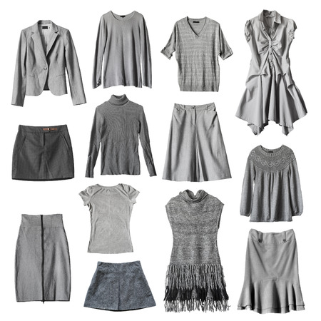 Set of gray female clothes on white background Banque d'images