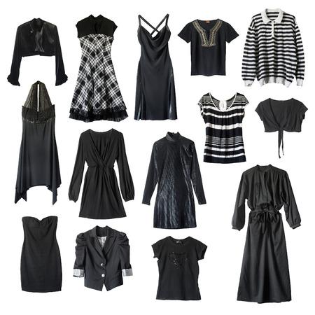 Set of black female clothes on white background photo