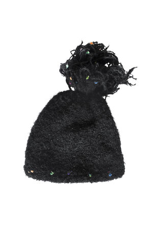 pompon: Black knitted cap with a pompon isolated over white