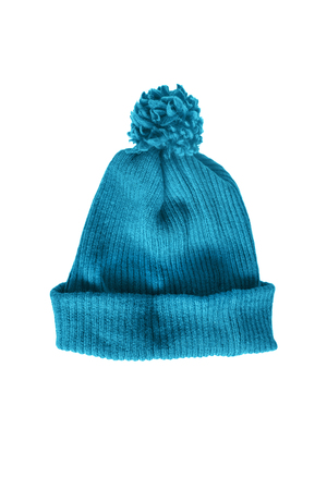 pompon: Blue knitted cap on white background