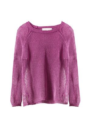 白で隔離された女性のピンクのセーター