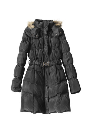 Black quilted down jacket on white background