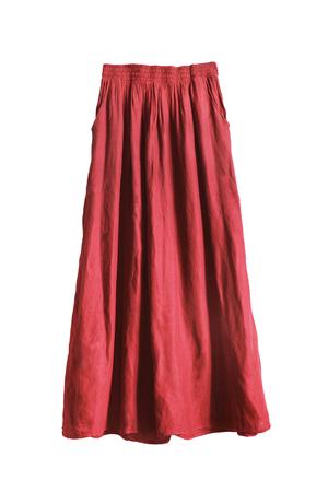 draped: Red draped silk maxi skirt on white background Stock Photo