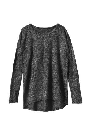 lurex: Black with metal thread sweatshirt isolated over white