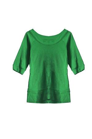 sudadera: Sudadera b�sica femenina verde aislado m�s de blanco Foto de archivo