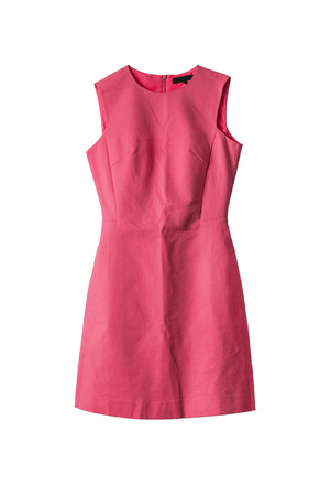 Form fitting coral cocktail dress isolated over white