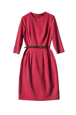 formal dressing: Red dress with leather belt isolated over white