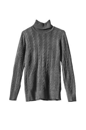 白の背景にグレーのウールのセーター
