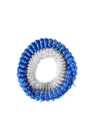 scrunchy: Blue scrunchy on white background closeup Stock Photo