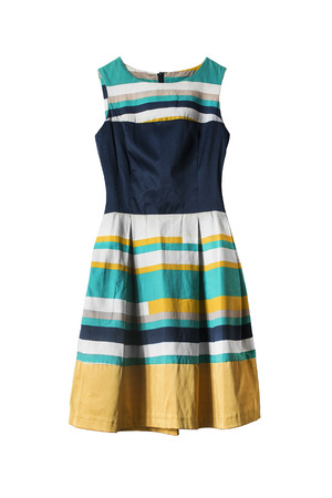 白い背景の縞模様のエレガントなノースリーブ ドレス