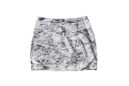 patchy: Gray spotted denim mini skirt on white background