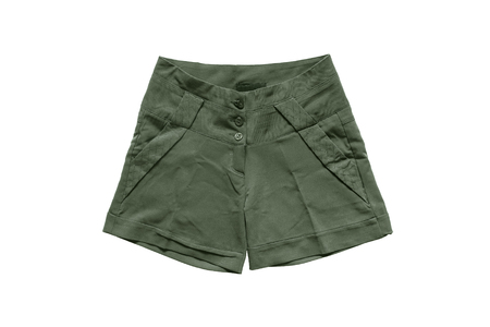 khaki pants: Khaki military female shorts isolated over white