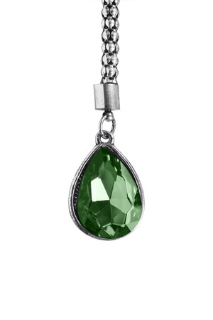 nephritis: Big emerald pendant on silver chain isolated over white