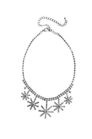 Elegant diamond necklace on white background photo